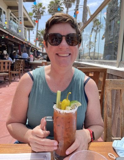 Liz in SoCal with a drink